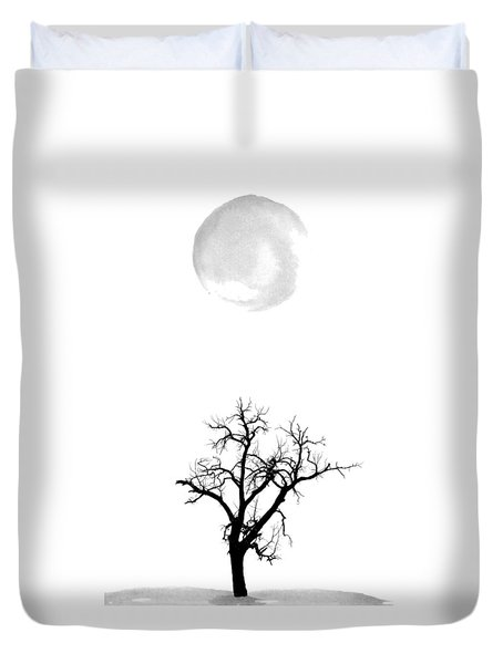 Tree And Moon Duvet Cover
