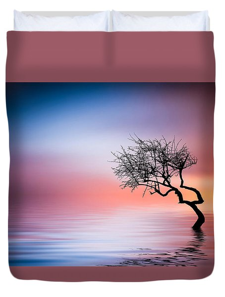 Tree At Lake Duvet Cover