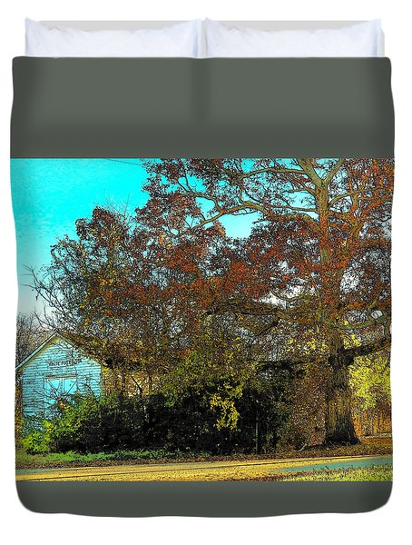 Tree At The Station Duvet Cover by Joyce Kimble Smith