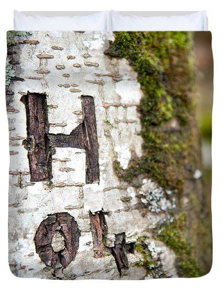 Tree Bark Graffiti - H 04 Duvet Cover