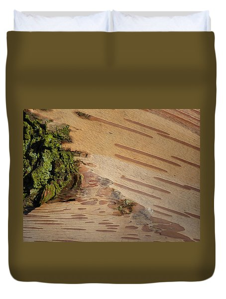 Tree Bark With Lichen Duvet Cover by Margaret Brooks