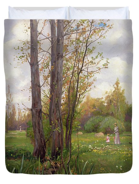Tree Beside Water  Duvet Cover by Ernest Le Villain