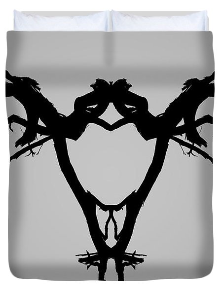 Duvet Cover featuring the photograph Tree Bird I Bw by David Gordon