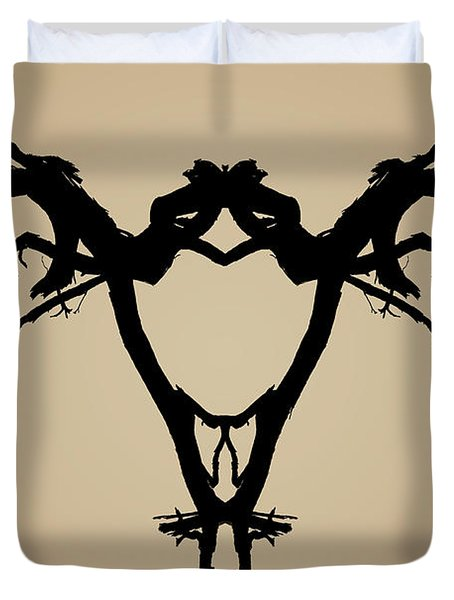 Tree Bird Toned Duvet Cover