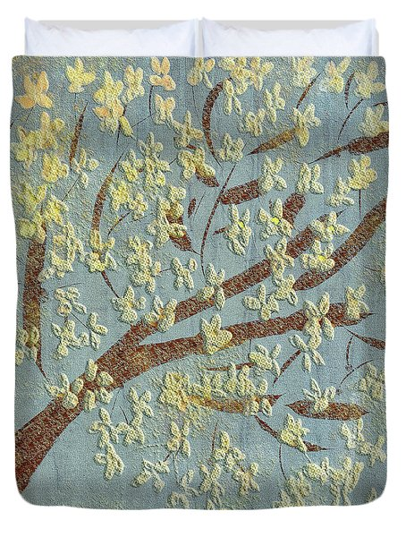 Duvet Cover featuring the digital art Tree Blossoms by Lois Bryan