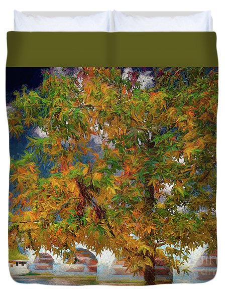 Tree By The Bridge Duvet Cover