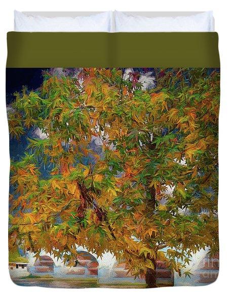 Tree By The Bridge Duvet Cover