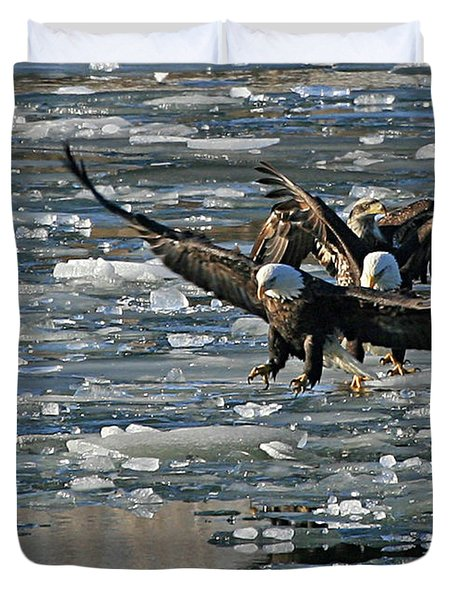Tree Eagles On Ice Duvet Cover