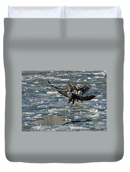Tree Eagles On Ice Duvet Cover