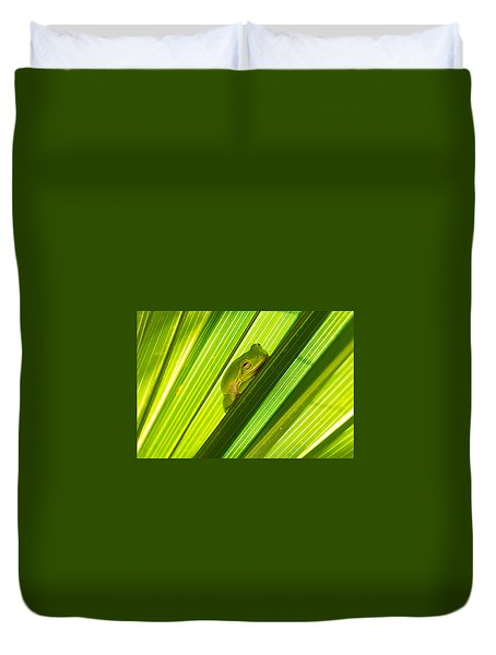 Tree Frog And Palm Frond Duvet Cover by Kenneth Albin