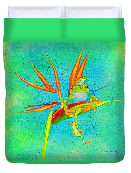 Tree Frog On Birds Of Paradise Square Duvet Cover