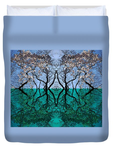 Tree Gate Between Water And Sky Worlds Duvet Cover