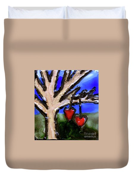 Duvet Cover featuring the painting Tree Hearts by Genevieve Esson