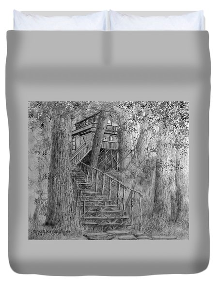 Duvet Cover featuring the drawing Tree House #1 by Jim Hubbard