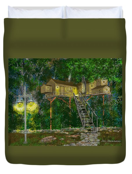 Duvet Cover featuring the drawing Tree House #10 by Jim Hubbard