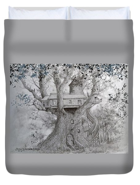 Duvet Cover featuring the drawing Tree House #2 by Jim Hubbard
