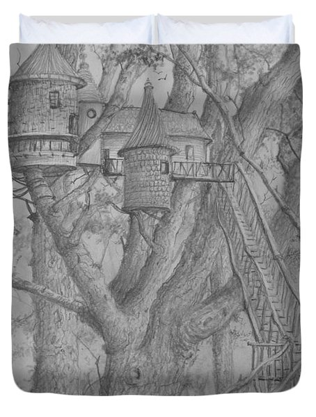Duvet Cover featuring the drawing Tree House #3 by Jim Hubbard