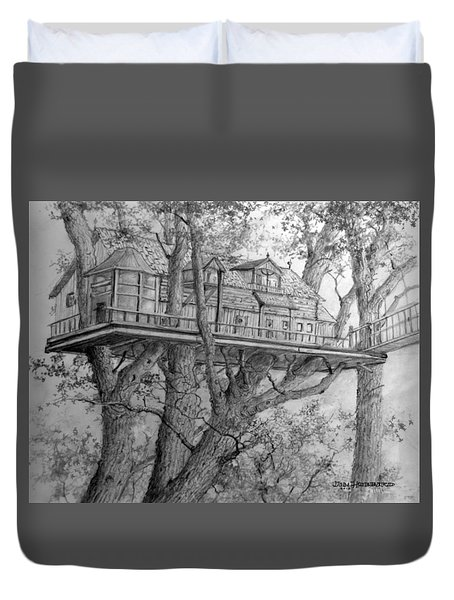 Duvet Cover featuring the drawing Tree House #4 by Jim Hubbard