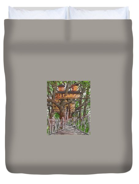 Duvet Cover featuring the drawing Tree House #6 by Jim Hubbard