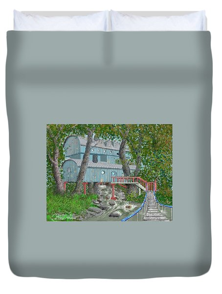 Duvet Cover featuring the drawing Tree House Digital Version by Jim Hubbard