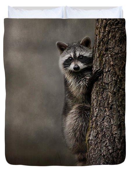 Tree Hugger Raccoon Art Duvet Cover by Jai Johnson