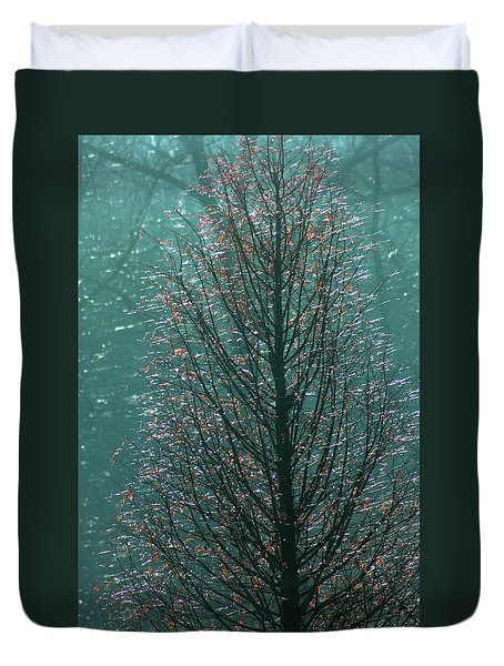 Tree In Autumn, With Red Leaves, Blue Background, Sunny Day Duvet Cover