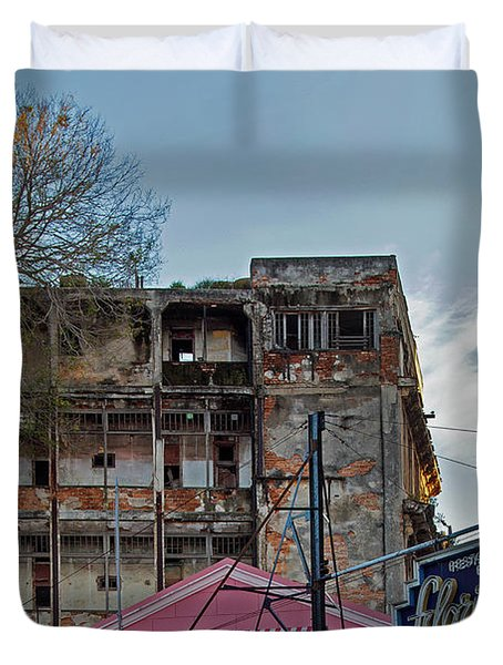 Duvet Cover featuring the photograph Tree In Building Over La Floridita Havana Cuba by Charles Harden