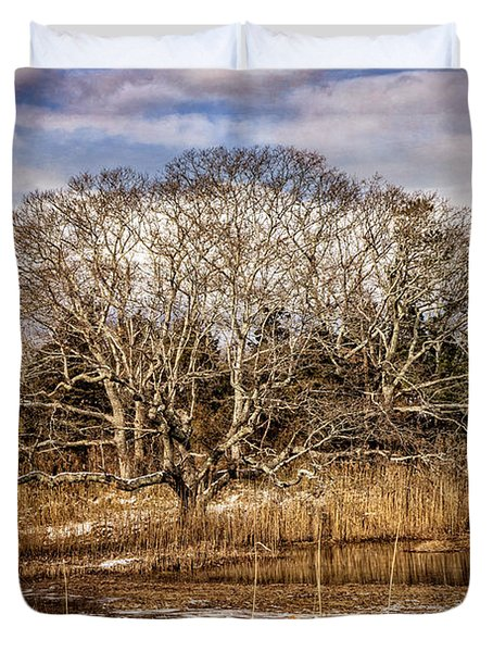 Tree In Marsh Duvet Cover