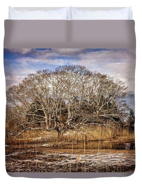 Tree In Marsh Duvet Cover