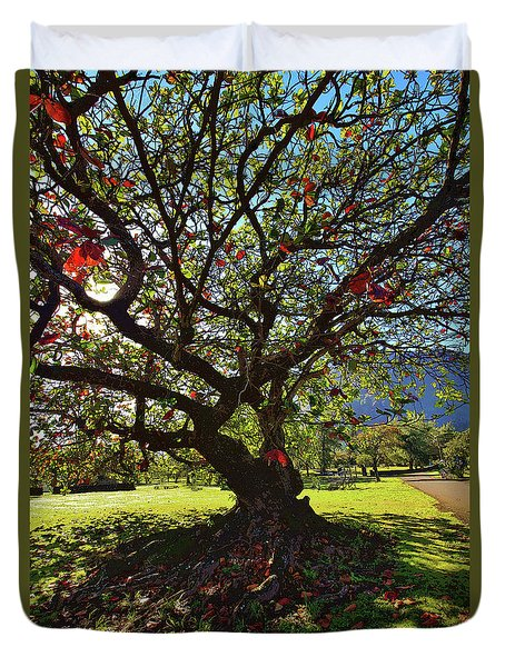 Tree In Red And Green Duvet Cover