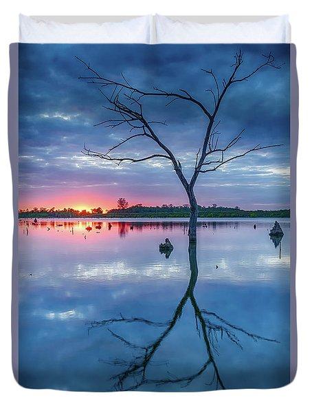Tree In Silhouette Duvet Cover by Jae Mishra