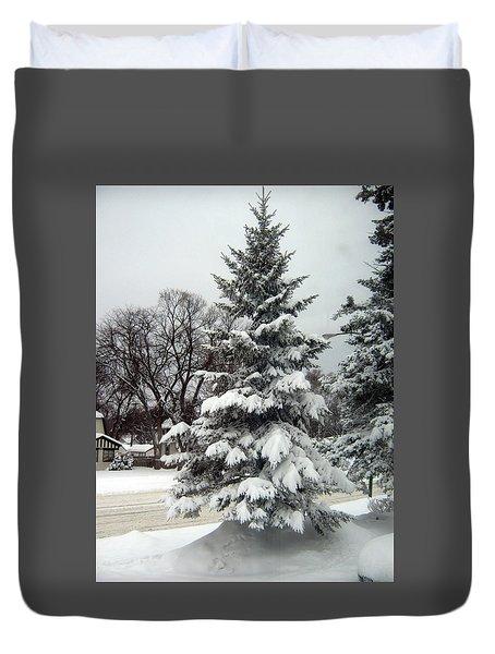 Tree In Snow Duvet Cover