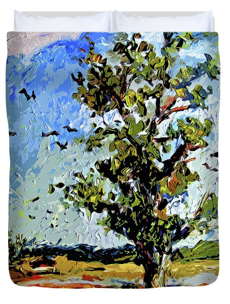 Tree In Summer Sun Mixed Media Duvet Cover