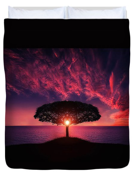 Tree In Sunset Duvet Cover