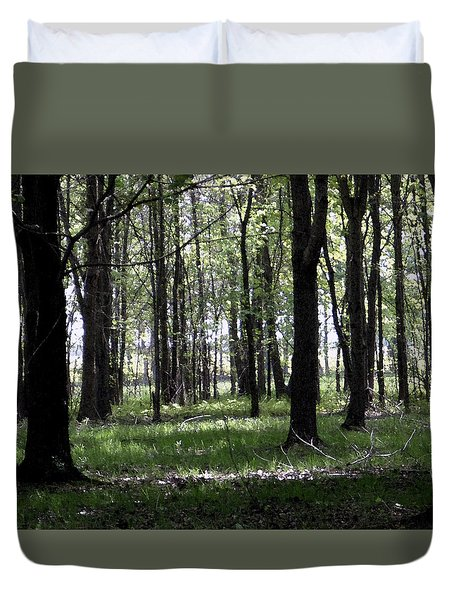 Duvet Cover featuring the photograph Tree In The Woods by Michelle Audas
