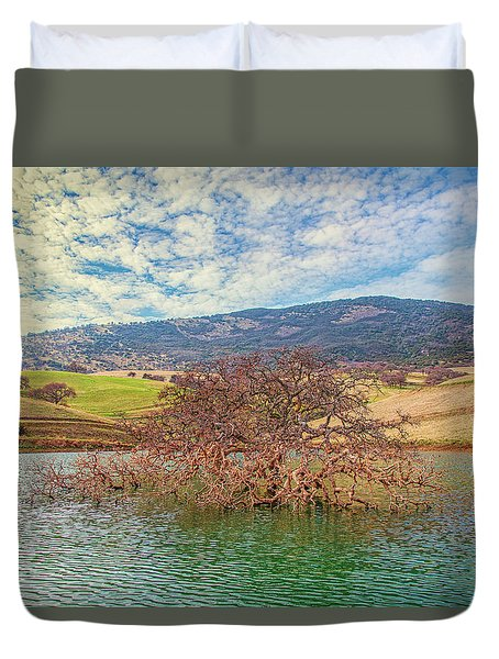 Tree In Water Under Morning Clouds Duvet Cover
