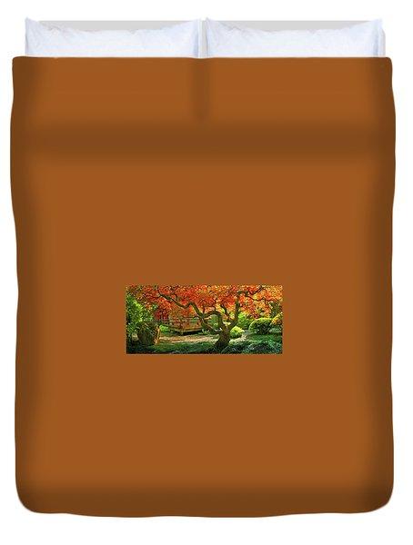 Tree, Japanese Garden Duvet Cover