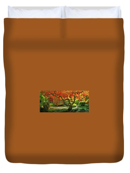 Tree, Japanese Garden Duvet Cover by Marius Sipa