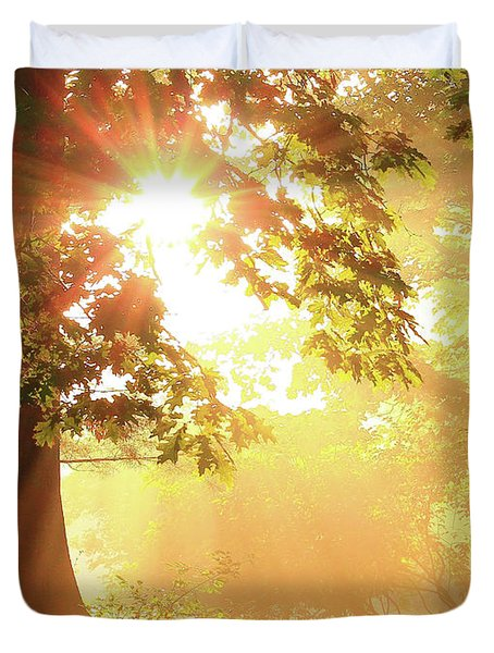 Tree Light-god's Rays Duvet Cover