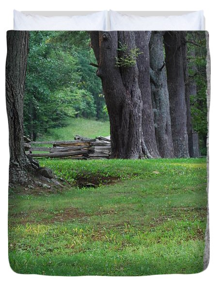 Duvet Cover featuring the photograph Tree Line by Eric Liller