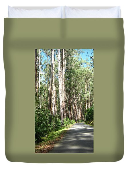 Tree Lined Mountain Road Duvet Cover