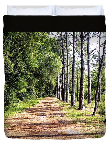 Duvet Cover featuring the photograph Tree Lined Path by Terri Mills