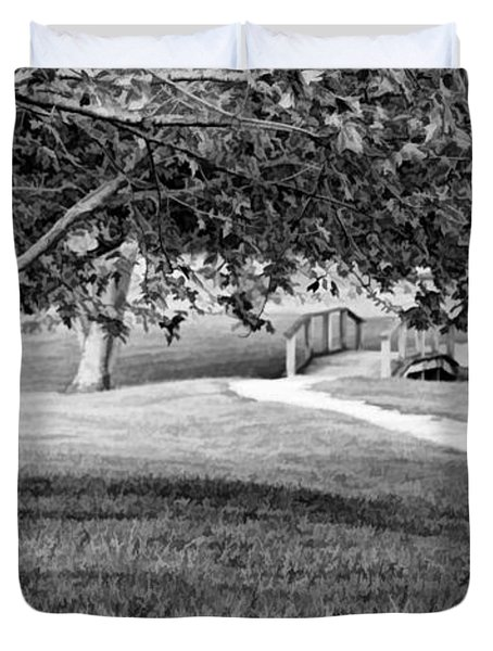 Duvet Cover featuring the photograph Tree-lined Path To Footbridge - B/w by Greg Jackson