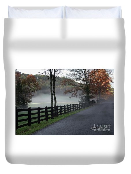 Tree Lined Road In The Fog Duvet Cover