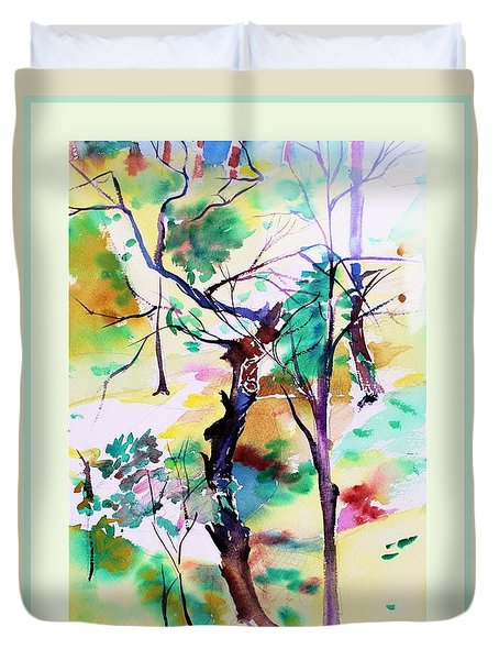 Duvet Cover featuring the painting Tree Lovers by Mindy Newman