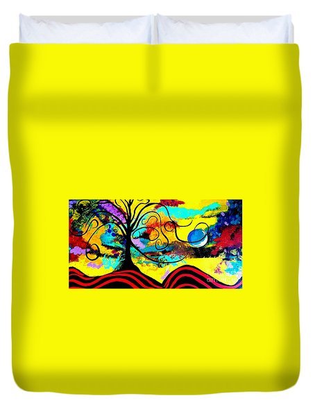 Tree Of Life Abstract Painting  Duvet Cover