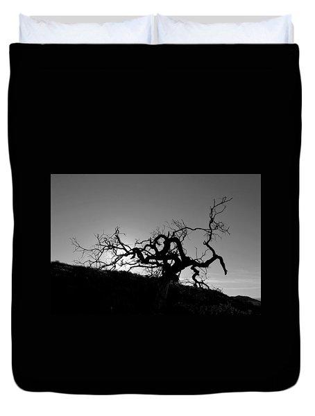 Tree Of Light Silhouette Hillside - Black And White  Duvet Cover