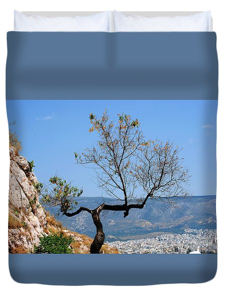 Tree On Acropolis Hill Duvet Cover by Robert Moss