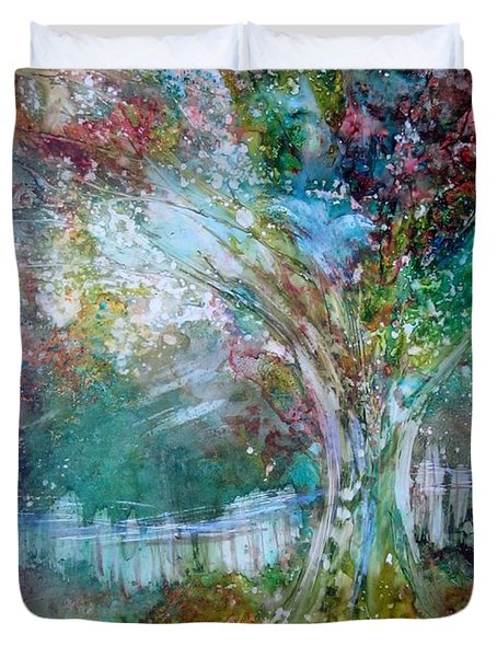 Duvet Cover featuring the painting Tree On Fire by Deborah Nell