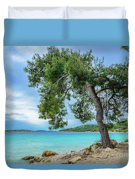 Tree On Northern Dalmatian Coast Beach, Croatia Duvet Cover